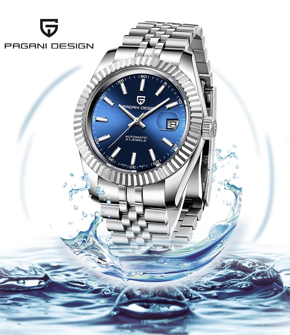 PAGANI العلامة التجارية تصميم الرجال ساعة ميكانيكية اليابان المواطن 8215 رجال الأعمال مقاوم للماء ساعة الياقوت الفولاذ المقاوم للصدأ