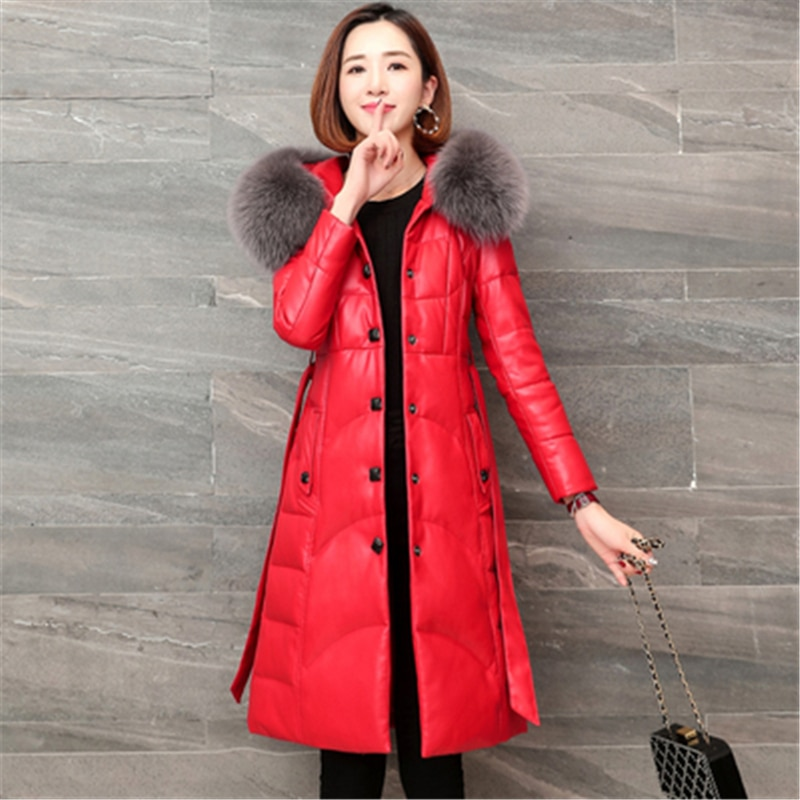 New Women's Fox Fur Collar Down Coats High Quality Winter Elegant Ladies Leather Coats Sheepskin Female Long Coats Overcoat N323 enlarge