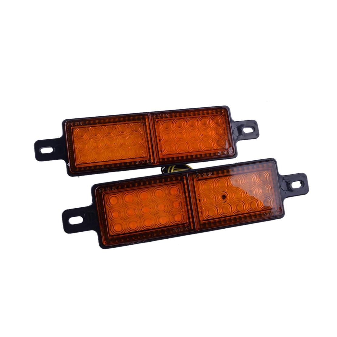 2Pcs Universal 12V 30 LED Amber Front Indicator Park Light Bull Bar Marker Lamp for Pickup Truck Trailer Boat Lorry Van Caravan