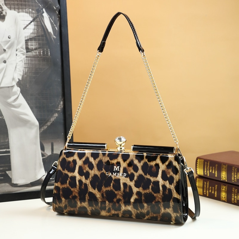 جلد طبيعي ليوبارد حقيبة يد المرأة حقيبة يد الموضة الجديدة سلسلة منتصف العمر السيدات موضة الكتف رسول حقيبة تحت الإبط الإناث