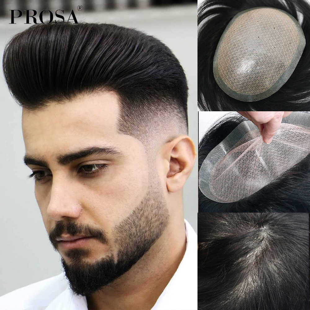 Thin Full Skin Men's Wig Man Hair System for Men Fashion Real Natural Male Human Men's Hair Replacement System Hairpiece Mens