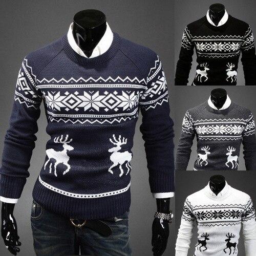 Мужской свитер в английском стиле на осень 2020, модный свитер с оленями, мужской повседневный приталенный вязаный пуловер с длинным рукавом, ...