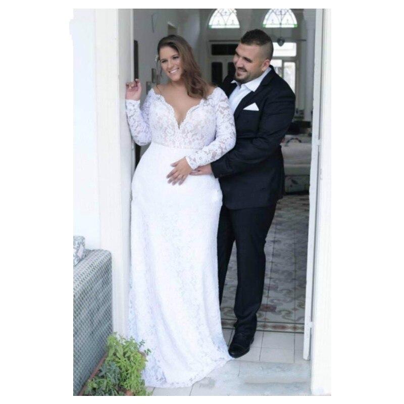 JIERUIZE 2019 vestidos de novia modest cuello en V manga larga cerradura espalda encaje vestidos de novia de talla grande robe de mariee