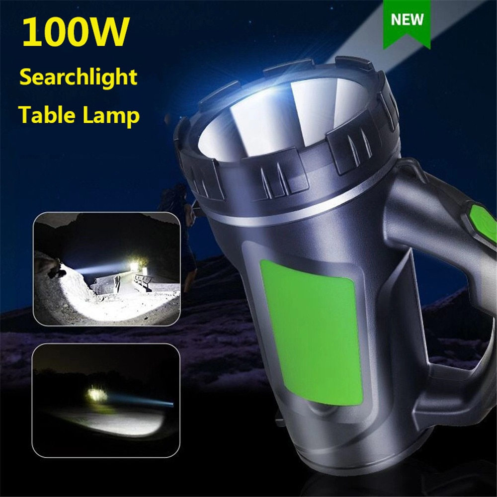 Linterna LED de Uso largo de 100W y 3000mAh, linterna potente de búsqueda resistente al agua para Camping, con foco de luz nocturna lateral