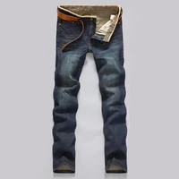 classic men casual mid rise straight denim jeans long pants comfortable trousers loose fit new brand menswear mans jeans