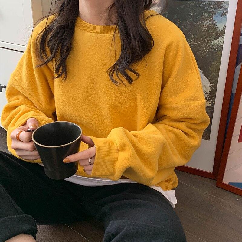 8 cores 2020 coreano estilo chique cor sólida básico moletom feminino macio das mulheres streetwear roupas (x1256