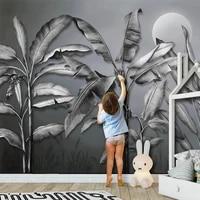 custom 3d wall mural wallpaper retro black and white banana tree plant leaf fresco living room tv bedroom home decor 3d sticker