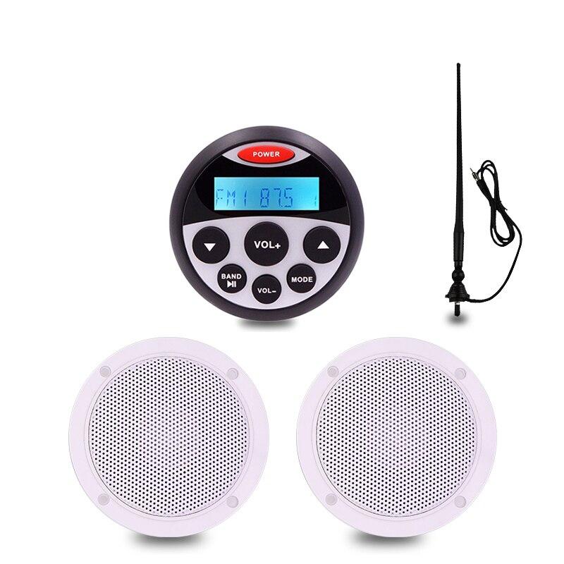 "Unidad de medición de audio estéreo marina a prueba de agua, receptor de FM + 4 ""altavoz marino + antena FM para barco RV, carrito de Golf, motocicleta"