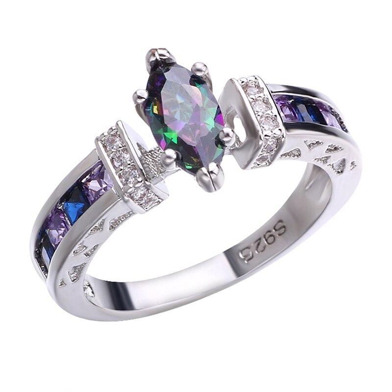 Piedra Lunar púrpura anillos de boda Ojo de caballo joyería femenina de lujo Oval Cristal púrpura anillo de compromiso colorido joyería gran oferta