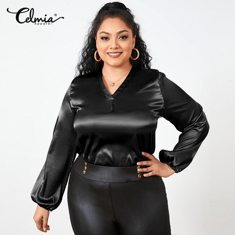 Women Fashion Satin Blouses Celmia Sexy V-Neck Elegant Solid Tops 2021 Autumn Casual Long Sleeve Office Ladies Blusas Plus Size