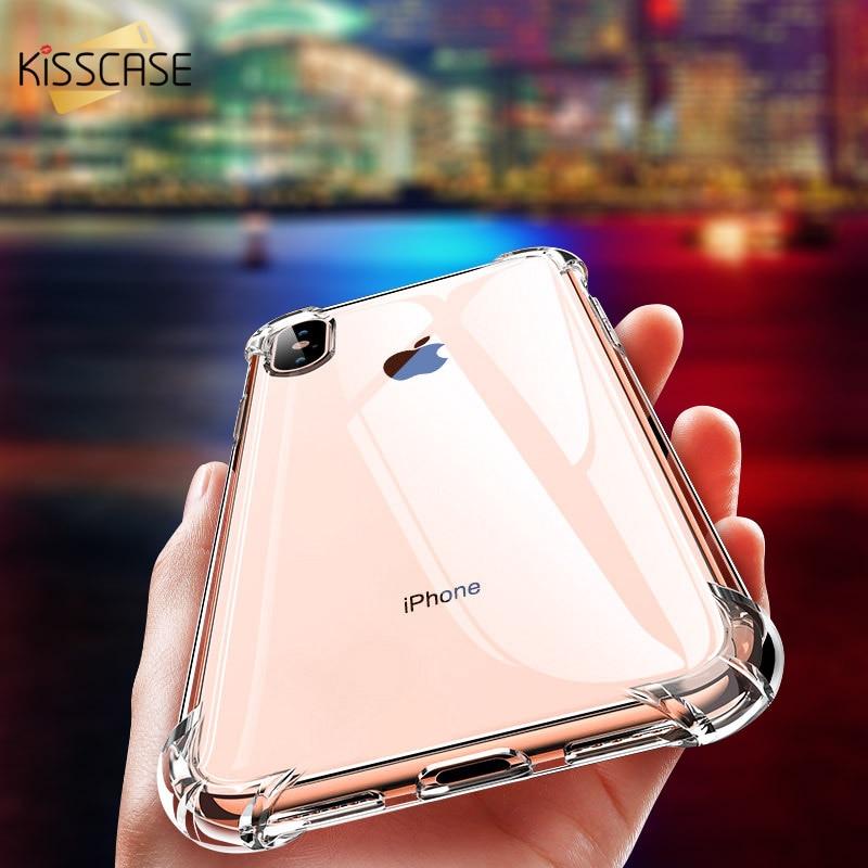 Kisscase claro macio tpu caso de telefone para iphone 6 s 7 8 plus anti batida silicone volta capa 11 pro max xr x xs max coque carcasa
