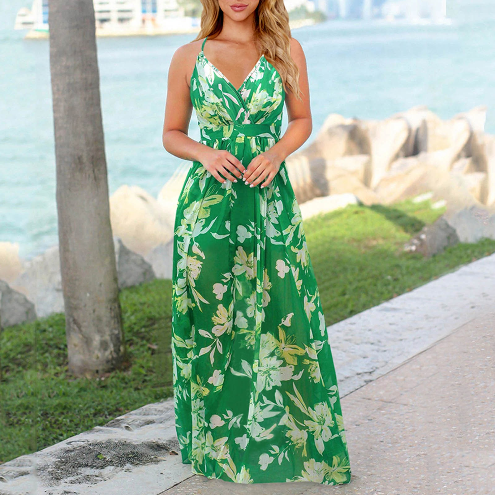 40# Boho Floral Maxi Dress Sexy Backless Evening Party Dress Beach Sundress Long Maxi Dresses For Women 2021 Open Back Robe