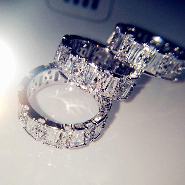 Joyería fina para mujer anillos de diamante anillo de personalidad cuadrado diamante diseño de moda anillo de circonio Trapezoidal cristal fila