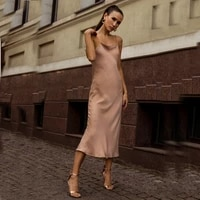2021 summer sexy satin smooth sling dress women square collar backless long dress female solid color fashion slim party dresses