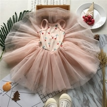 Tonytaobaby Summer New Girl Baby Cherry Soft Yarn Girls Pink Dress  Toddler Girl