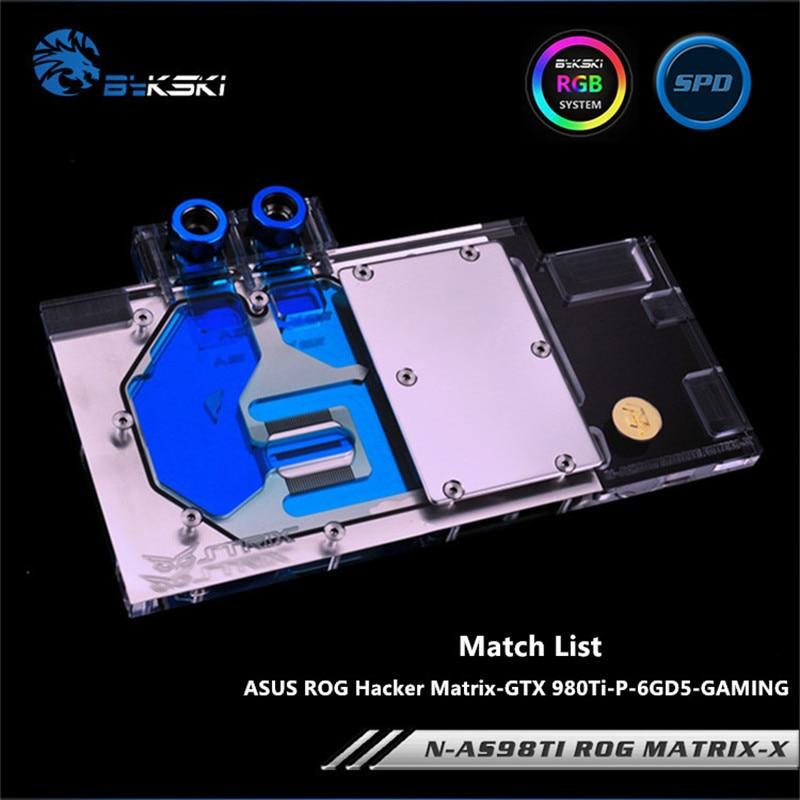 Bykski Full Cover Graphics Card Water Block use for ASUS MATRIX-GTX 980TI-P-6GD5-GAMING Copper Radiator Water Block/RGB light