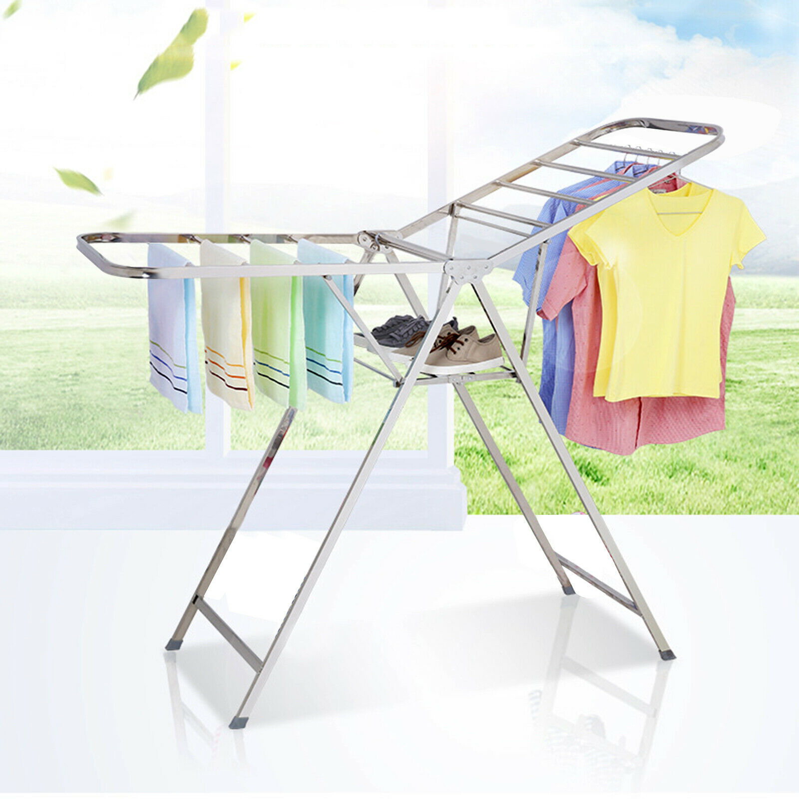 Estante de secado de acero inoxidable, estante de secado plegable para interiores, estante de secado frío para el hogar, estantería para colgar ropa para niños simple para balcón