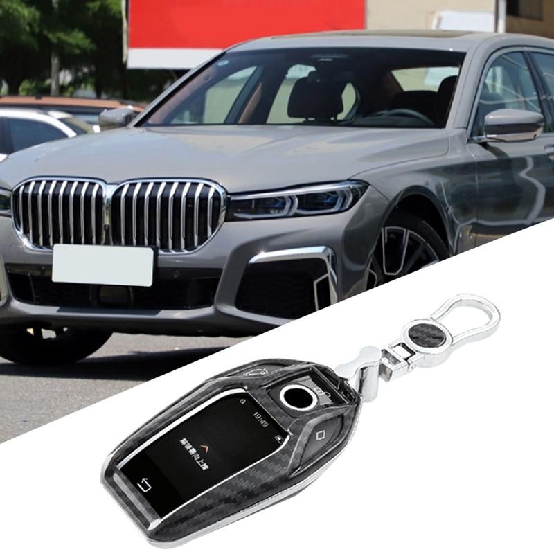 Funda de cobertura de mando a distancia para coche de fibra de carbono Abs, funda protectora para Bmw serie 7 5, pantalla G30 X3