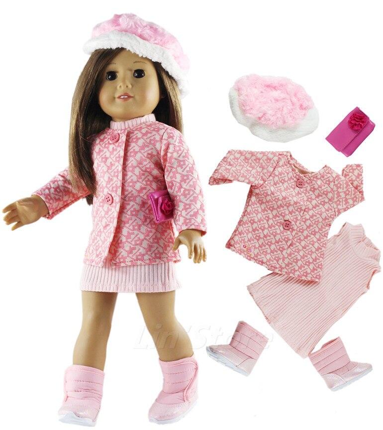 """1 set de ropa para muñeca Rosa traje abrigo + vestido de 18 """"pulgadas muñeca de muchos estilos para elegir"""