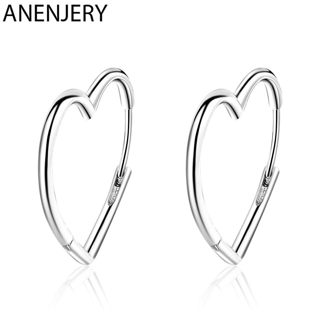 ANENJERY простой 925 пробы Серебряные Серьги Два Цвета «любящее сердце» серьги в виде колец, для Для женщин подарок S-E926