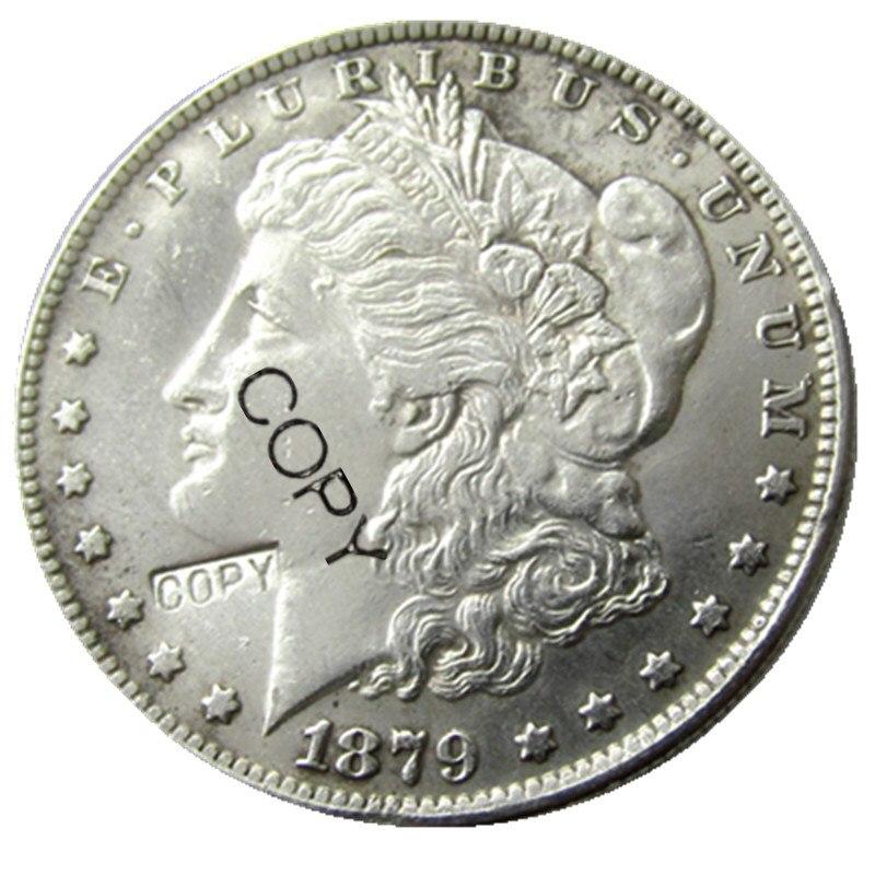 Monedas estadounidenses 1879-S Dólar Morgan copia monedas chapadas en plata