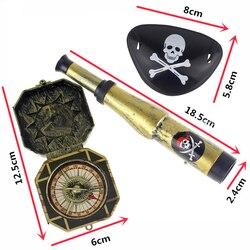 3 pçs crianças criança pirata festa brinquedos fornecedor plástico pirata remendo com crânio vestir prop bússola mini telescópio halloween