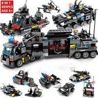 8IN1 עיר אבני בניין תחנת המשטרה SWAT צוות משאית בלוקים חינוכיים בני צעצוע לילדים
