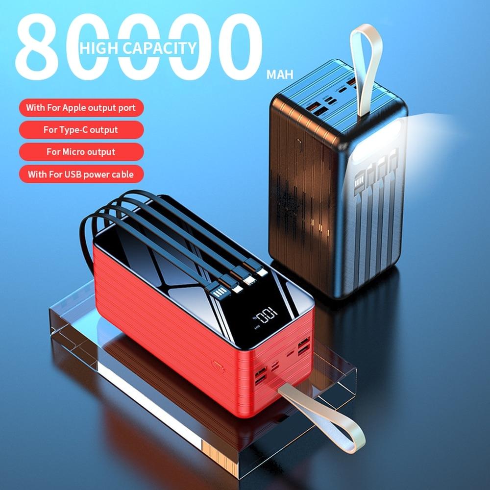 PINZHENG 80000mAh قوة البنك ل Xiaomi هواوي فون تجدد Powerbank الخارجية بطارية احتياطية المحمولة المدمج في 4 كابلات تجدد Powerbank