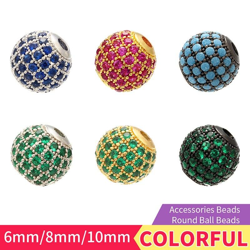 ZHUKOU 6mm/8mm/10mm Hohe Qualität Messing Zirkonia Runde Spacer Perlen für Schmuck Zubehör modell: VZ223