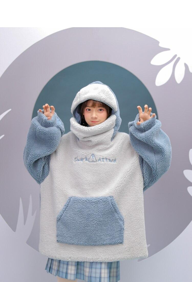 سترة هاراجوكو الانيمي للقرش ، ملابس نسائية كورية طويلة الاكمام ، ملابس الشارع كبيرة الحجم ، ملابس الخريف والشتاء