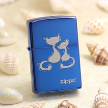 Genuine Zippo oil lighter copper windproof Blue ice mirror Cat cigarette Kerosene lighters Gift With anti-counterfeiting code