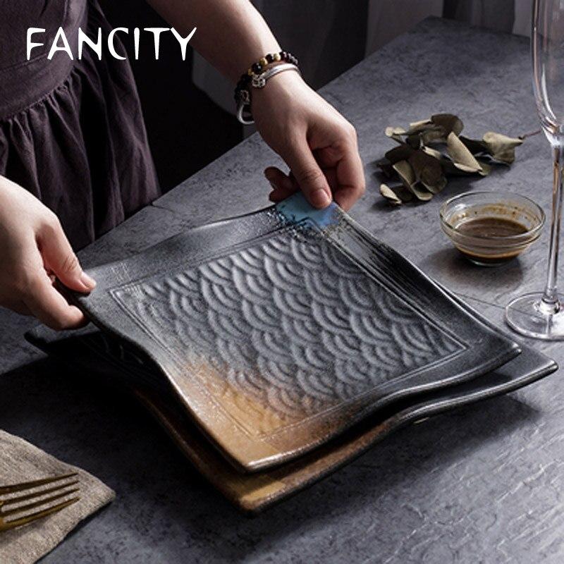FANCITY-أدوات مائدة منزلية على الطراز الصيني ، أطباق مربعة تجارية ، أطباق خزفية للمطاعم ، أطباق عشاء إبداعية