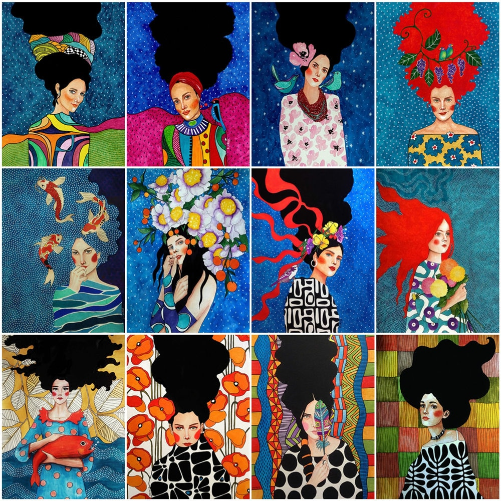 HUACAN pintura por números chica regalo DIY foto pintura por número retrato dibujo para decoracion de hogar en lienzo pintado a mano arte regalo