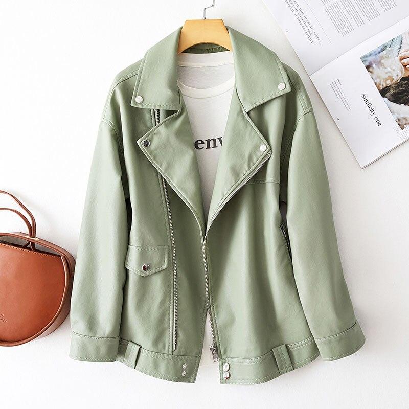 Куртка женская демисезонная из искусственной кожи, модная повседневная короткая байкерская куртка из искусственной кожи с длинным рукавом...