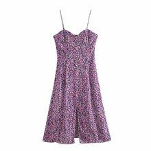 2020 Summer New Single-Breasted Floral strape purple zaraing vadiming sheining zafuler Sukienka Boho women female Dress Hjh4218