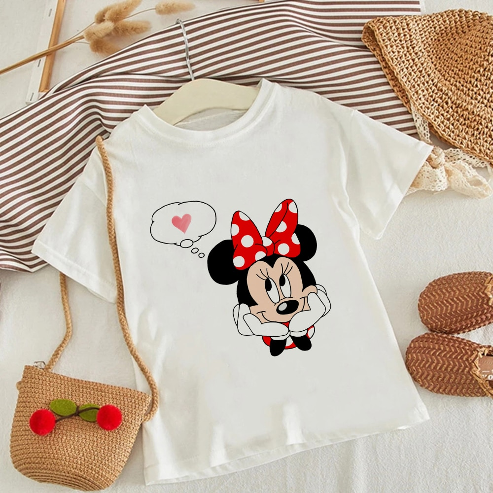 Casual Clothing For Boys Fashion Kids T-shirt Disney Print Minnie Mickey Funny Graphic Camisetas Summer Round Neck Girl T-shirt casual letter print round neck t shirt pants twinset for kids