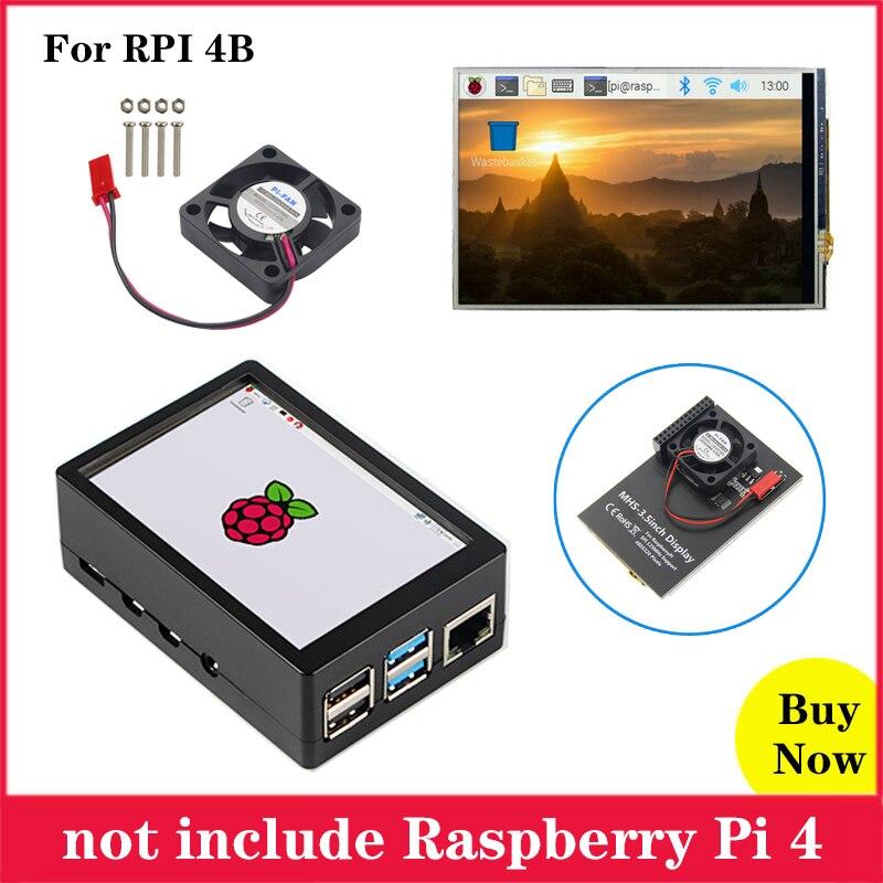 Raspberry Pi 3,5 дюймов сенсорный экран MHS 3,5 дюймов дисплей 480*320 ЖК-дисплей с ABS чехол вентилятор охлаждения для Raspberry Pi 4 Модель B 4B