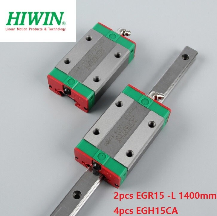 2 piezas origial Hiwin rail EGR15-L 1400mm guía lineal + 4 piezas EGH15CA bloques de transporte para CNC router