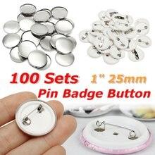 Pièces de Badge blanc en plastique   100 pièces de Badge blanc en plastique 1 pouce 25mm fournitures pour bricolage, accessoires de matériel de travail manuel