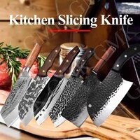 kitchen knife meat cleaver chef knife forged damask stainless steel professional handmade vegetable cutter slicer cooking tools