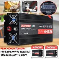 Inverter 220V 12V/24V/48/60V 2600/4200W Voltage transformer Pure Sine Wave Power Inverter DC12V to AC 220V Converter+LCD Display