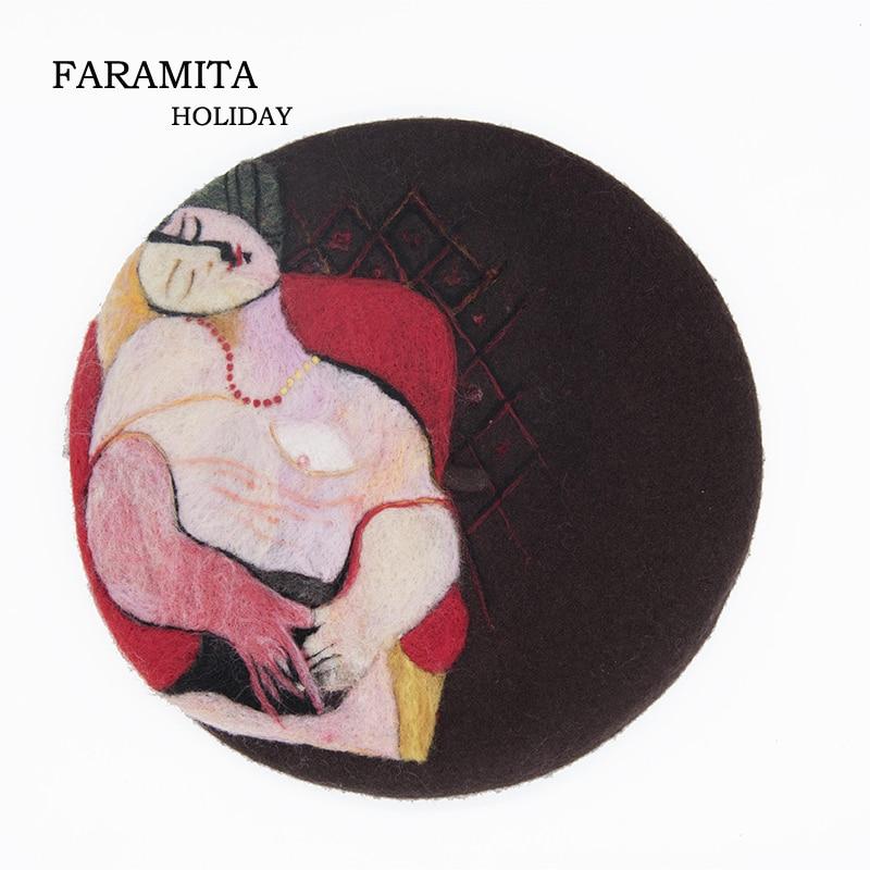 Faramita, vacaciones, estilo Picasso, sombreros de pintor para mujer, pinturas francesas, boinas, fieltro de lana hecho a mano, Boina Sexy, gorros manuales