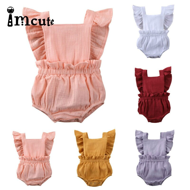 Imcute 2020 0-24M, Pelele de lino de encaje para recién nacido, Pelele de lino, traje de sol, pelele sin mangas con volantes, ropa