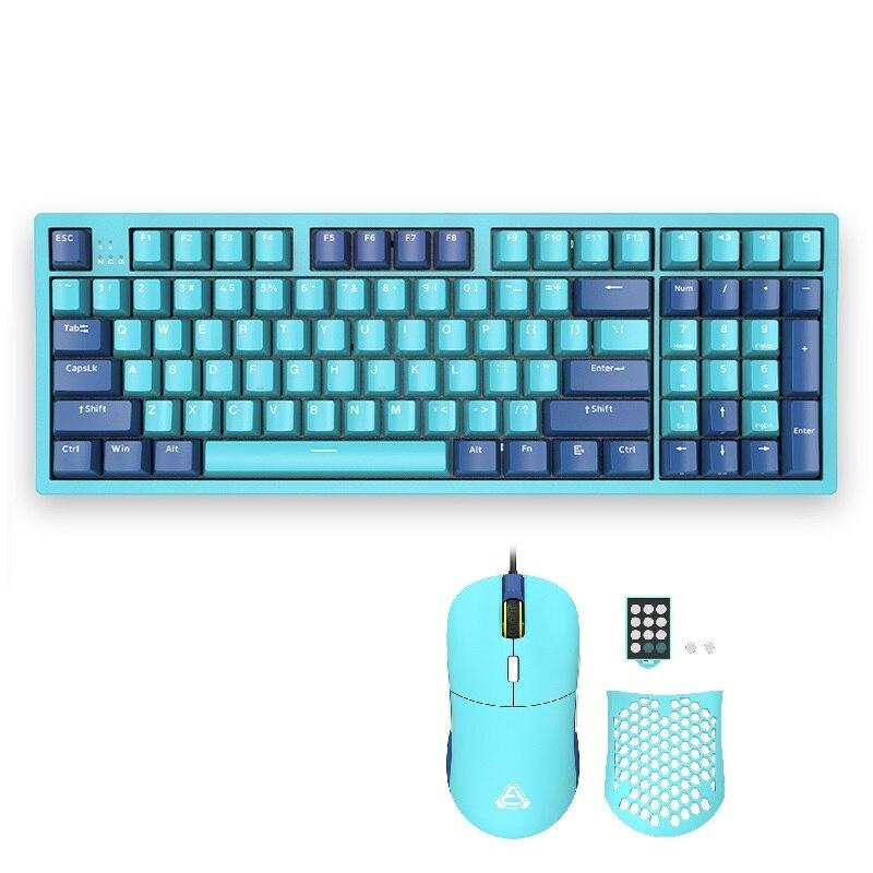 لوحة مفاتيح ألعاب ميكانيكية من AJAZZ 96 مفتاح MX CHERRY لوحة مفاتيح B16 خفيفة الوزن RGB ماوس ألعاب برمجة ماكرو ماكس 16000 ماوس للكمبيوتر الشخصي