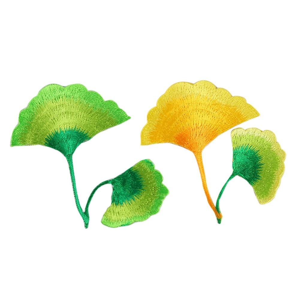 Alta qualidade bordado completo ouro ginkgo folha remendos para roupas jeans decoração acessórios planta roupas apliques emblemas