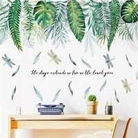 tofok creative tropical green leafy plants decorative stickers self adhesive paper house simple decorative wall stickers