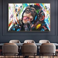 graffiti cute monkey canvas painting colorful printed poster and prints painting wall pictures for living room home decorations