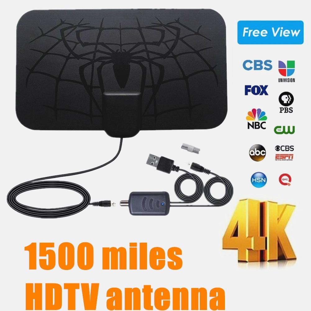Antena para TV Digital de 1500 millas para interiores Vacusg Antena amplificada HDTV 4K DVB-T2 Freeview isdb-tb canal Local Broadcast