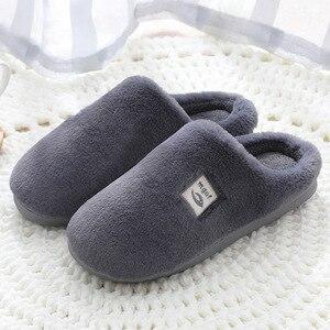 Slippers Women Winter Large Size 40-45 Fur Slippers   Comfortable Velvet Indoor Home Slippers Non-slip Soft Ladies Shoes