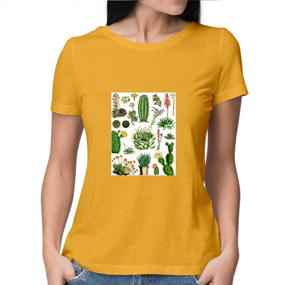 Camiseta con estampado gráfico de cactus Glamour para chicas, nueva camiseta Multicolor para mujeres, camiseta amarilla con letras estampadas